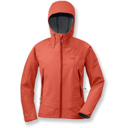 Built for mountaineering in serious weather conditions, the rugged and durable Paladin jacket from Outdoor Research is ultralight, waterproof and breathable. Pertex(R) Shield 3-layer waterproof breathable fabric with 100% sealed seams offers complete protection from the elements and is sleek over layers. Water-resistant zippers eliminate bulk and weight. Dual-pull adjustable hood fits over a helmet and allows visibility in all directions; the laminated brim shields face from dripping rain. Hood tunnels prevent drawcord ends from flopping in your face; chin guard protects skin from abrasion. Weather won't penetrate the front zipper due to the internal stormflap. Dual drawcord hem adjustment and rip-and-stick cuff closures. Mesh-lined hand pockets with 2-way zippers provide storage and venting options; internal zip mesh storage pocket with headphone cord port. Articulated elbows enhance comfort in the Outdoor Research Paladin jacket. Closeout. - $111.83