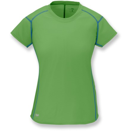 Fitness The Outdoor Research Echo short-sleeve T-shirt ensures comfort while trekking, running or biking. Smooth and soft polyester fabric wicks moisture and dries quickly. Fabric provides UPF 15 sun protection, shielding skin from harmful ultraviolet rays. Flatlock seams maximize motion and minimize abrasion. Closeout. - $14.73