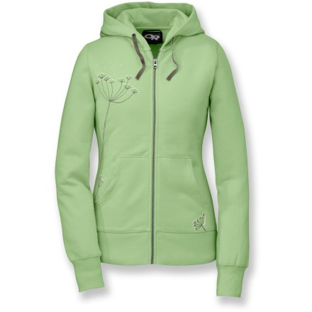 The Outdoor Research Resilience hoodie will quickly become an everyday favorite. Featuring a fun, feminine graphic, this hoodie looks great no matter the occasion. Cotton/polyester blend fabric is soft and warm. Flatlock seams offer flexibility and comfort. Drawcord adjustable hood and front pouch pockets. Relaxed fit for comfort. Closeout. - $32.83