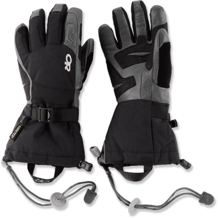 Ski The Outdoor Research Northback Snow gloves are built tough, so you'll feel just as comfortable taking them on the ski slopes or on your winter ascent. Nylon exteriors feature waterproof, breathable Gore-Tex(R) inserts to keep your hands dependably dry and comfortable. EnduraLoft(TM) polyester fiber insulation on the backs and palms of the hands keeps your fingers warm while you play in the snow. Leather palms give a sure grip of ski poles, ice axes and ropes; leather wraps around the fingertips and finger sidewalls for great durability. Wrist articulation matches the natural hand position while skiing. SuperCinch(TM) gauntlet closures tighten up quickly to keep snow out. Outdoor Research Northback Snow gloves include removable wrist cords that secure gloves to wrists. Closeout. - $40.83