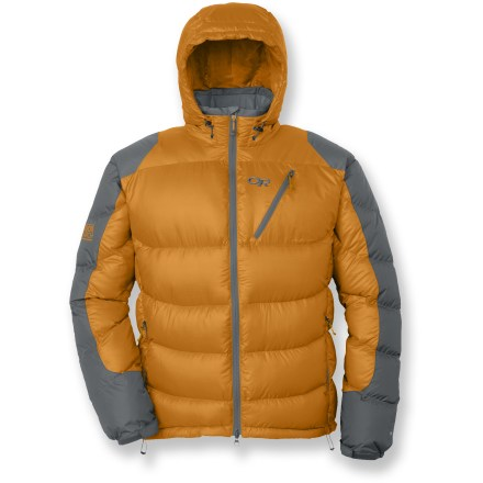 Camp and Hike The Outdoor Research Virtuoso is a tough wind- and water-resistant jacket that provides excellent warmth while you're setting up high camp or out on a multiday trek in cold, nasty weather. Features a water-resistant, breathable and durable 20-denier ripstop polyester body and hood; quality 650-fill-power goose down is warm, lightweight and compressible. 30-denier Pertex(R) Endurance fabric on the shoulders and arms increases durability and weather resistance. Adjustable hood holds in warmth; brushed tricot-lined collar next to delicate skin. 2-way front zipper with internal draft flap offers fit and venting adjustments. 2 zippered hand pockets and Napoleon chest pocket; right hand pocket doubles as a stuff sack. 2 large internal shove-it pockets hold water bottles, skins or gloves. Outdoor Research Virtuoso hoodie features elastic cuffs with rip-and-stick tab adjustments and a drawcord hem. - $174.93