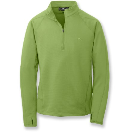 The Outdoor Research Radiant LT zip top can be worn alone, or layered under a shell for extra warmth. Polyester/spandex blend fabric moves with you, making this top a great choice for active pursuits. Flatlock seams maximize motion and minimize abrasion. Quarter-length front zipper for easy ventilation. Wrap-around side panels for a great fit. Thumbholes keep sleeves in place. Closeout. - $47.93