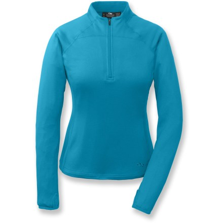 The Outdoor Research Radiant LT zip top goes on easy and keeps you warm on fall hikes. Polyester/spandex blend fabric moves with you, making this top a great choice for active pursuits. Flatlock seams maximize motion and minimize abrasion. Quarter-length front zipper for easy ventilation. Wrap-around side panels for a great fit. Thumbholes keep sleeves in place. Closeout. - $21.73