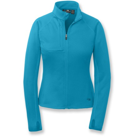 Camp and Hike The Outdoor Research Radiant Hybrid jacket is ready for any adventure, from hiking to running to skiing. Polyester/spandex blend fabric moves with you, making this jacket a great choice for active pursuits. Flatlock seams maximize motion and minimize abrasion. Wrap-around side panels for a great fit. Zippered Napoleon pocket for stashing small essentials. Thumbholes keep sleeves in place. Closeout. - $34.73
