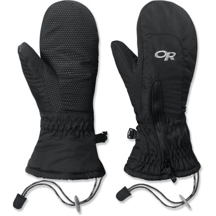 The Outdoor Research Adrenaline mittens offer grownup comfort and performance for little hands. Durable nylon shells resist abrasion; wraparound AlpenGrip(R) LT palms add durability and grip. EnduraLoft(TM) polyester insulation features 200g on the back of the hand and 133g on the palm; soft fleece lining adds warmth and comfort against the skin. Precurved box design makes it easy to flex hands in a natural motion. Elasticized wrists and cuffs create a secure closure; long gauntlets add protection. Zippered gusset from the cuff to the back of the hand make it easy to put on and take off mittens. The Outdoor Research Adrenaline mittens feature removable leashes and an ID tag inside the wrist. - $13.83