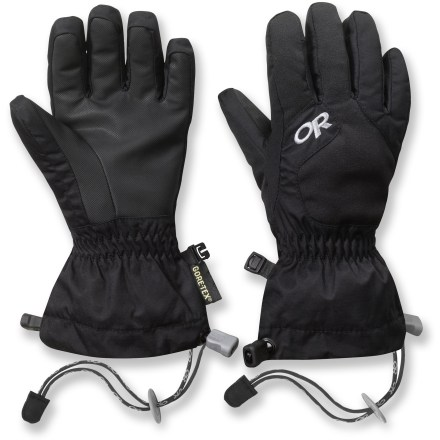 Ski Give them the gift of warm fingers while playing in the snow! Outdoor Research Gravitator gloves keep snowmelt out and the heat in. Nylon shells resist abrasion and are built to last; 200g EnduraLoft(TM) insulation and soft fleece lining offer dependable warmth. Waterproof, breathable, windproof Gore-Tex(R) inserts provide an excellent defense against heat-robbing moisture and wind chill. Durable AlpenGrip(R) polyurethane palms easily grip sleds and ski poles even when the temperature drops. Soft nose wipe on the back of the thumbs catches drips. DuoCinch(TM) gauntlet closures with elasticized wrists keep the gloves in place and seal out debris. Adjustable cords keep gloves attached to sleeves when the gloves are removed. Tags for name and phone number are located inside the wrists. - $33.93