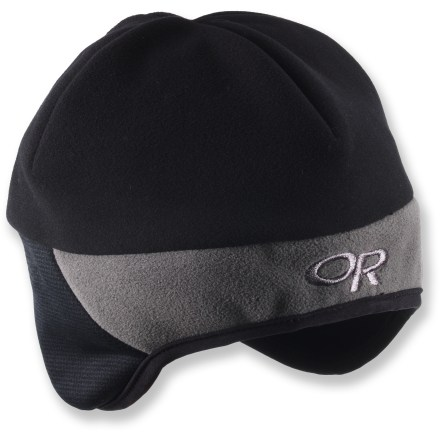 The Outdoor Research Alpine Windstopper hat combines classic mountain style with Windstopper(R) fabric to help protect kids' craniums from the elements. Hidden between 2 layers of fleece, Windstopper(R) membrane makes this hat windproof and warm. Snug-fitting ear band with gently curved bottom hem provides excellent coverage for the ears. - $16.93