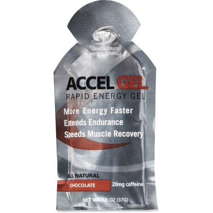 Camp and Hike Accelerade Accel Gel features all-natural whey protein and carbohydrates in a patented 4:1 ratio to help aid athlete performance and speed recovery. Whey protein helps deliver more carbohydrate energy, extend exercise endurance, reduce muscle damage and hasten muscle recovery. Carbohydrates and electrolytes aid in rapid rehydration and work to replenish lost muscle energy. For best results, consume gel and follow with water. *Discount will be applied when you check out; offer not valid for sale-price items ending in $._3 or $._9. - $0.93