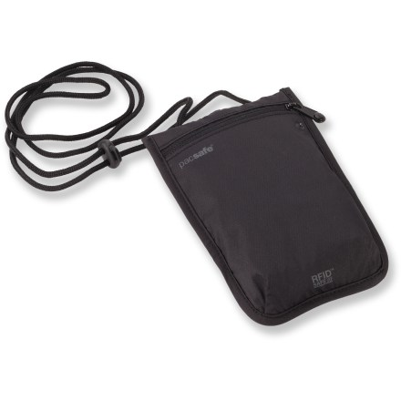 Entertainment The Pacsafe RFIDsafe 75 RFID-blocking neck pouch keeps travel documents, cards and cash concealed from view. Lightweight and worn comfortably underneath clothing, it keeps essentials close to you. - $14.93