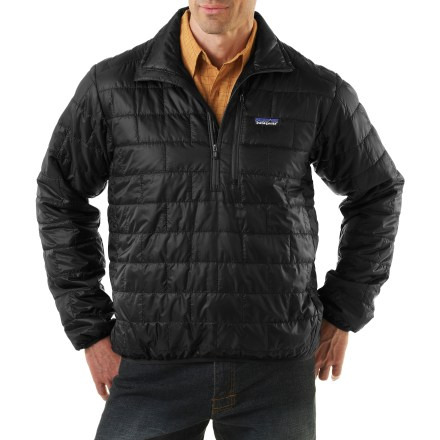 The Patagonia Nano Puff pullover is wind- and water-resistant and highly compressible. Very warm for its weight, the pullover can be worn as insulation or outerwear in cold climates. The new Nano got top marks from testers for versatility, surprising warmth and terrific all-around performance in a superlight no-frills package. It's weather resistant enough to wear as an insulated shell in a wet snowstorm, trim enough to pull on for chilly rock pitches and warm enough for light belay parka duty. Versatile PrimaLoft(R) One polyester insulation provides excellent warmth and compressibility. Wind-blocking, moisture-shedding, recycled polyester shell glides effortlessly whether worn as a middle or outer layer. Deep front zipper allows easy ventilation; elasticized cuffs and hem seal out wind and trap warmth. Packs down to practically nothing and stuffs into the single chest pocket; pocket has a carabiner clip-in loop. 100% recyclable through Patagonia's Common Threads Recycling Program-simply return your worn-out item to Patagonia. - $83.83