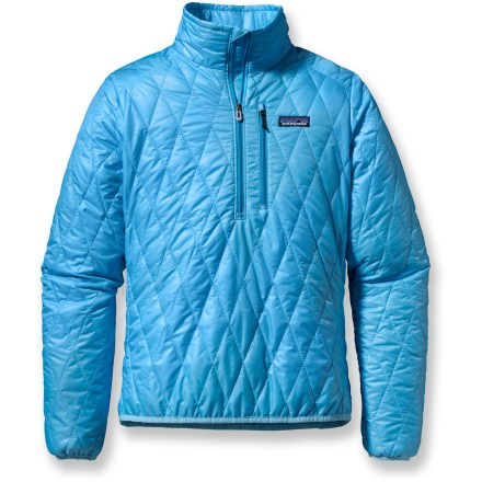 The women's Patagonia Nano Puff pullover is wind- and water-resistant and highly compressible. Very warm for its weight,  the pullover can be worn as insulation or outerwear in cold climates. - $82.83