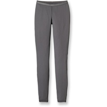 A primary layer offering warmth on chilly days, the soft and lightweight Patagonia Capilene(R) 2 long underwear bottoms for women are highly breathable and fast drying. Patagonia has reinvented its Capilene performance base layers by now making them from recycled and recyclable synthetic fiber. Lightweight, open-knit fabric invites airflow, dries quickly and works well when layering; fabric features high recycled content. Gladiodor(TM) natural odor control employs benign amino acids to keep funky scents at bay; plus, it's nonpolluting, safe and durable. Gusseted crotch design moves seams to a more comfortable location and allows unrestricted range of motion. Plush, brushed waistband offers next-to-skin softness; medium rise hits just below the natural waist. Side seams are positioned a bit forward to create chafe-free comfort. Flatlock seams are non-bulky and supple. 100% recyclable through Patagonia's Common Threads Recycling Program-simply return your worn out item to Patagonia. - $30.93
