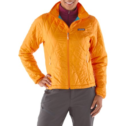 The women's Patagonia Nano Puff jacket is wind- and water-resistant and highly compressible. Very warm for its weight, this jacket can be worn as insulation or as outerwear in cold climates. It's weather resistant enough to wear as an insulated shell in a wet snowstorm, trim enough to pull on for chilly rock pitches and warm enough for light belay parka duty. Versatile PrimaLoft(R) One polyester insulation provides excellent warmth and compressibility. Wind-blocking, moisture-shedding, recycled ripstop polyester shell glides effortlessly whether worn as a middle or outer layer. Unique quilt pattern holds insulation in place promoting durability and longevity; Deluge(TM) Durable Water Repellent finish repels moisture. Full-length zipper with internal draft flap, elasticized cuffs and drawcord hem seal out wind and trap warmth. Nano Puff packs down to practically nothing and stuffs into the internal zip chest pocket; 2 zip handwarmer pockets. Regular fit eases layering. 100% recyclable through Patagonia's Common Threads Recycling Program-simply return your worn-out item to Patagonia. - $138.93