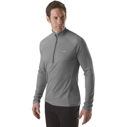 Ideally suited as a first layer for high-endurance activities in a wide range of temperatures, the Patagonia Capilene(R) 2 long-sleeve Zip-T top is highly breathable and dries quickly. Patagonia has reinvented its Capilene performance base layers by now making them from recycled and recyclable synthetic fiber. Lightweight, open-knit polyester fabric invites airflow, dries quickly and works well when layering; fabric features high recycled content. Gladiodor(R) natural odor control employs benign amino acids to help keep funky scents at bay; plus, it's nonpolluting, safe and durable. Raglan sleeves eliminate shoulder seams, enhancing range of motion and comfort under pack straps. Flat-ribbed underarm and side panels are extra soft for chafe-free comfort where arms are most active next to fabric. Flatseam construction is soft and non-chafing next to skin. Zipper is backed by a draft flap and tucks neatly into zipper garage. Contoured, slim fit minimizes bulk to create an easy-layering garment that won't restrict your movement. Hem length appropriate when left untucked. 100% recyclable through Patagonia's Common Threads Recycling Program-simply return your worn out item to Patagonia. - $33.93