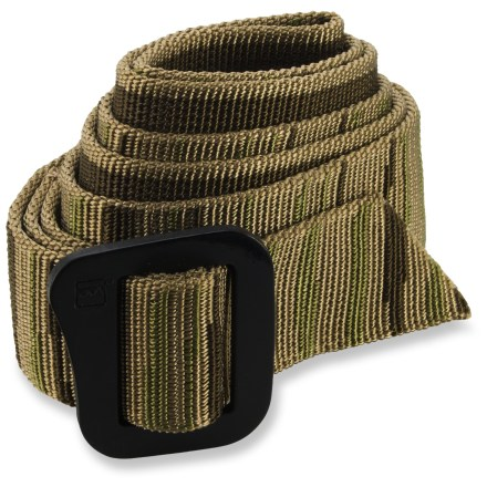 The lightweight, low-profile Patagonia Friction belt weighs just 5.8 oz. and can double as a lash strap on your pack. Flexible nylon webbing dries quickly. Aluminum buckle has an anodized, anti-corrosive finish. Belt adjusts easily. 1 size fits most. - $29.00