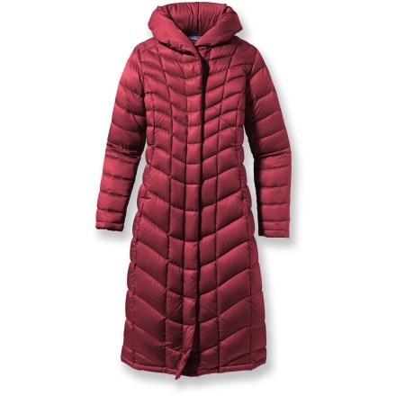 The Patagonia Downtown Loft Parka is a feminine, street-smart parka with a shawl collar that neatly transforms into a hood and a long length for ultimate warmth. Premium European 800-fill-power goose down insulation is extremely warm, lightweight and compressible. Satin polyester shell features elegant contoured quilting. Durable Water Repellent finish fends off light rain showers and snow. Articulated hood stows into the shawl collar. 2-way front zipper with interior windflap; snap-close overflap increases warmth. Zippered on-seam handwarmer pockets; interior zip stash pocket. Below-knee length; slim fit. - $188.83