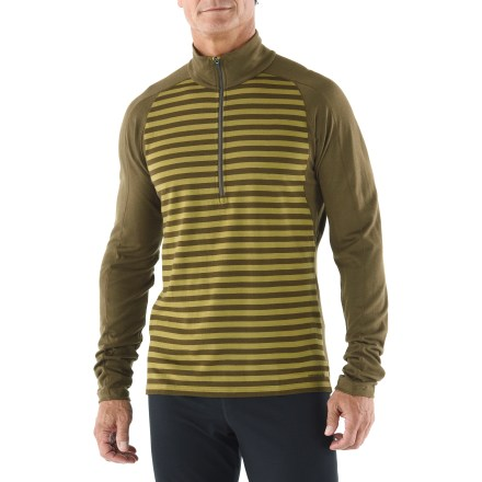 The Patagonia Merino 3 Midweight Zip-Neck shirt offers cozy insulation during stop-and-go activities in cold weather. Jersey-knit merino wool provides superior softness and odor-resistant performance; wool is processed without the use of chlorine. Recycled polyester enhances moisture wicking performance and increases durability. Raglan sleeves eliminate shoulder seams for increased range of motion and comfort. Hidden thumbholes under cuffs keep sleeves in place when arms are in motion. Underarm panels with offset side seams minimize abrasion and maximize motion. Slim fit. Machine wash the Patagonia Merino 3 Midweight Zip-Neck on cold; tumble dry on low. - $68.93