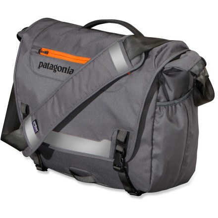 Entertainment The Patagonia Half Mass is a fully featured courier bag sized to hold enough gear (and a laptop) to keep you going all day. The Half Mass holds your busy life together. Half Mass is built for bike commuters and sized for a day's worth of gear; padding on the backside and along the contoured base protects the contents and provides structure. Inside, a padded computer sleeve cradles a 17 in. or smaller laptop safely off the bottom; sleeve secures with a buckle and strap. Main compartment features a drop pocket that secures with a hook-and-loop tab, a mesh pocket, a padded electronics pocket, pen sleeves and a secure zippered pocket. Cover flap overlaps the sides of the bag to block rain; zippered pocket on flap has moisture-shedding reverse coil zipper. External side pocket stows a cell phone, power cords or water bottle. No-slip shoulder strap with floating pad is fully adjustable; stowaway waist strap holds pack secure for riding. Patagonia Half Mass features a topside carrying handle, reflective panels for visibility at night and a bike-light mount. Made of 600-denier 100% recycled polyester with a polyurethane coating and a Durable Water Repellent finish. - $69.93