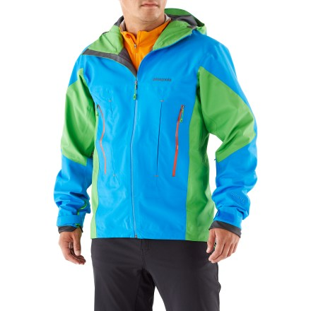 Ski The Patagonia Super Alpine jacket is a big-mountain jacket for alpine climbing or ski mountaineering in the worst possible conditions. It's like a suit of armor for adventuresome ascents and descents. Extremely light but durable 3-layer Gore-Tex(R) Pro Shell nylon outer shell has key-area reinforcements; a micro-grid interior backer helps optimize breathability. Helmet-compatible, 2-way-adjustable hood with laminated visor optimizes visibility in bad conditions. Front watertight zipper with an internal stormflap keeps the weather at bay while keeping the jacket's weight down; chin guard protects skin from zipper abrasion. Trim, watertight pit zippers offer quick venting options. Gasket Dry Cuffs enhance protection in wet conditions; cuffs have a low-profile closure and pleated gusset. Embedded cordlocks in the hood and hem allow quick adjustment without opening the jacket. Zip handwarmer pockets are positioned for easy access with harnesses and pack straps; includes a small internal zippered chest pocket. Super Alpine jacket is designed with a low-bulk, flat-pleated front that stays close to the body while still allowing the pockets to expand without the need for bulky seams. Regular fit allows airflow and evaporative cooling, and eases layering. - $298.83