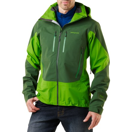 Ski Coast range ski tours, sea-to-summit ascents, Aleutian Island explorations-the Patagonia Triolet is a versatile, go-anywhere, do-everything waterproof, breathable shell. Durable 3-layer nylon Gore-Tex(R) Performance Shell has a waterproof, breathable membrane bonded to a tough outer material and a robust backer lining. High-wear areas are reinforced with a higher-denier Performance Shell fabric for long-lasting durability. Helmet-compatible, 2-way-adjustable hood has a laminated visor for optimal visibility. Super low-bulk pit zips allow fast venting; watertight, coated zippers reduce zipper bulk and weight. Cuffs have low-profile closures with pleated gussets. 2 chest and 2 handwarmer pockets are watertight and compatible with climbing harnesses and pack straps; coated zippers are flexible and lean. Patagonia Triolet also has 1 internal zip security pocket. Includes full-reach gusseted underarm panels for mobility. Regular fit allows airflow and evaporative cooling, and eases layering. - $299.93