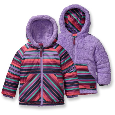 Snowboard Furry or slick? The Patagonia Baby Reversible Tribbles insulated jacket gives you both choices! It offers light, warm protection for infant and toddler girls' winter adventures. - $48.83