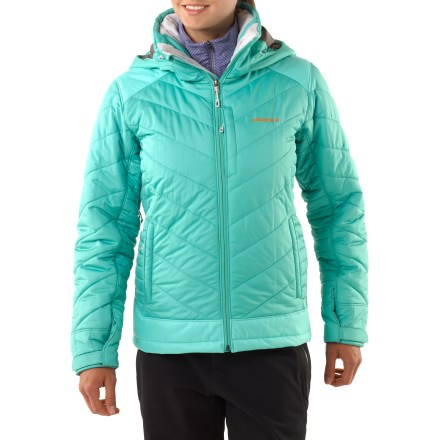 Ski For cold and snowy riding, the women's Patagonia Rubicon Rider jacket will have you loving the superior warmth and comfort it offers. Ripstop polyester shell with Deluge(R) Durable Water Repellent is soft, water resistant and highly breathable for backcountry adventures. Rugged, 2-layer H2No(R) polyester waterproof/breathable panels on shoulders, elbows and bottom hem resist abrasion and prevent wet-through. All exterior zippers are treated with a Deluge Durable Water Repellent finish for water resistance and quick drying. Insulated with polyester (90% recycled) insulation for lightweight, compressible warmth even when damp; quilted construction reduces bulkiness. Patagonia Rubicon Rider women's jacket has a smooth polyester lining that glides easily over underlayers and dries quickly when wet. Removable, helmet-compatible, adjustable hood allows natural neck mobility and peripheral vision; fleece-lined collar eliminates zipper rub and enhances comfort. Pit zippers provide ventilation to help keep your body temperature regulated; articulated sleeves increase mobility. Features twin handwarmer pockets and a zippered chest audio pocket; interior pockets include a zip stash pocket and an open stash pocket. Adjustable, removable powder skirt helps to seal out snow; webbing loops connect to compatible ski and snowboard pants, sold separately. Drawcord hem with cordlocks seals out drafts and adjusts via the front pockets; rip-and-stick cuffs adjust comfortably around wrists. - $299.00