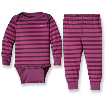 Ideal for extra warmth on blustery days, the quick-drying Patagonia Baby Capilene 3 Midweight long underwear set keeps infants and toddlers comfortable. - $11.83