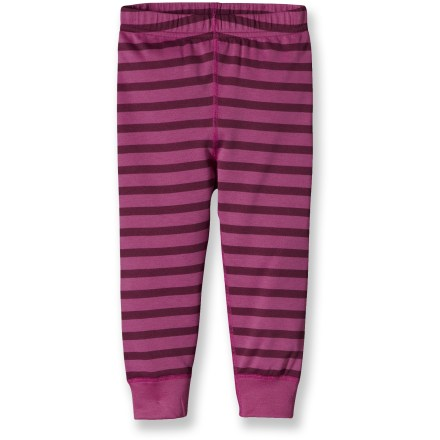 Ski Great for skiing and backpacking, the Patagonia Baby Capilene 3 Midweight long underwear bottoms for toddler girls are highly breathable, moisture wicking and fast drying. Patagonia has reinvented its Capilene(R) performance base layers, making them now from recycled and recyclable synthetic fiber. Gladiodor(R) natural odor control employs benign amino acids to help keep funky scents at bay; plus, it's nonpolluting, safe and durable. Gusseted crotch design moves seams to a more comfortable location and allows unrestricted range of motion. Side seams are positioned a bit forward to create chafe-free comfort. Plush, brushed waistband delivers next-to-skin softness. Patagonia Baby Capilene 3 Midweight long underwear bottoms feature flatlock seams that are non-bulky and supple. 100% recyclable through Patagonia's Common Threads Recycling Program-simply return your worn-out item to Patagonia. - $29.00