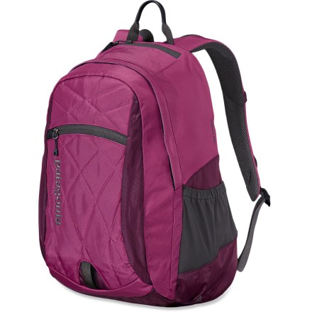 Camp and Hike The Patagonia Violeta daypack is made to fit women's torsos. It offers 1 main compartment, a padded laptop sleeve, an exterior stuff pocket and plenty of small pockets for stashing goods. - $54.93