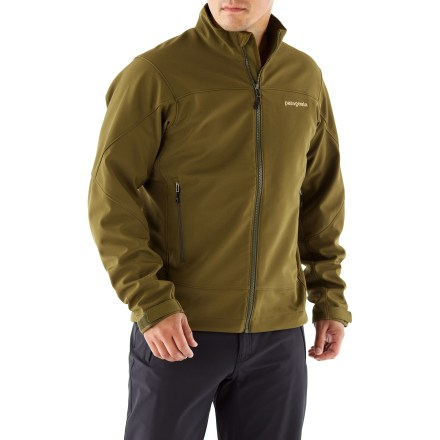 The men's Patagonia Adze jacket, with durable Polartec(R) Windbloc(R) stretch-woven fabric, stops wind in its tracks to keep you warm and dry in the cold. - $68.83