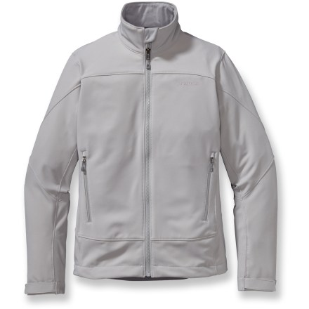The women's Patagonia Adze soft-shell jacket, with durable Polartec(R) Windbloc(R) stretch-woven fabric, halts wind in its tracks, promoting warmth in the cold. Polartec Windbloc stretch-woven polyester outer layer stops wind; moisture-wicking fleece grid interior traps heat. Durable Water Repellent finish fends off light rain showers and snow. Microfleece-lined neck and windflap provide next-to-skin comfort. Drawcord hem and low-profile gusseted cuffs create a tight seal. The Patagonia Adze women's jacket features 2 reverse-coil zip hand pockets and 1 internal zip chest pocket. Regular fit eases layering. Closeout. - $66.83