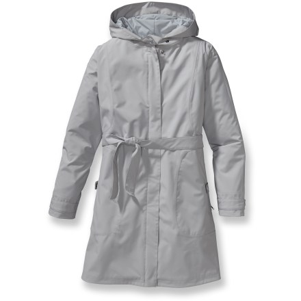 With contemporary tailoring and commanding style, the Patagonia Arborist coat will have you blowing by the umbrella and poncho peddlers, even in a downpour. Lined with smooth taffeta, the Arborist features a waterproof, breathable barrier for total weather protection. Hood stays put with under-the-chin, double-snap closure. Full snap-front placket with 2-way zipper. Cinchable cuffs help keep water out. Welted security pockets with snap tabs and an internal security pocket. Princess seaming and deftly placed style lines create a feminine contour. Self-fabric belt (attached at side seams) wraps around to tie in front or back. Patagonia Arborist Trench coat has a regular fit, so it's not too tight and not too loose. Closeout. - $131.73