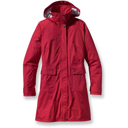 Beneath the sophistication of the Patagonia Torrentshell Trench rain coat is a technical rain shell that's light, packable and awesomely weatherproof. Tear-resistant, 2.5-layer nylon ripstop fabric has a waterproof, breathable to channel moisture away. Full-length snap placket features 2-way zipper and stormflap. Adjustable, removable hood secures with hidden snaps. Patagonia Torrentshell Trench coat has 2 front, snap-close pockets and an interior zippered stash. Front and back princess seams create a feminine silhouette; elasticized waist at back. Regular cut is not too tight and not too loose; it's just right. Torrentshell trench coat is 100% recyclable through Patagonia's Common Threads Recycling Program-simply return your worn out item to Patagonia. Closeout. - $122.93