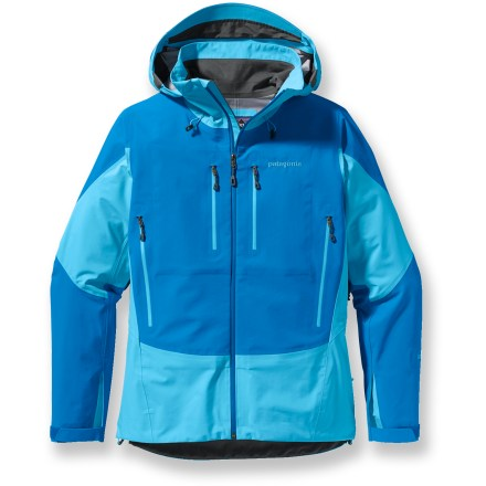 Ski Coast range ski tours, sea-to-summit ascents, Aleutian Island explorations-the women's Patagonia Triolet is a go-anywhere, do-everything waterproof, breathable shell. Durable 3-layer nylon Gore-Tex(R) Performance Shell has a waterproof, breathable membrane bonded to a tough outer material and a robust lining. For durability, high-denier fabric reinforces high-wear areas. Helmet-compatible, 2-way-adjustable hood has a laminated visor for optimal visibility. Pit zips allow fast venting; watertight Slim Zips reduce zipper weight. Underarm gussets let you reach without the jacket riding up. 2 chest and 2 handwarmer pockets are watertight and compatible with climbing harnesses and pack straps. 1 internal zip pocket secures small items. Patagonia Triolet jacket features a regular fit-not too loose, not too tight. Closeout. - $278.93
