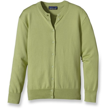 Come springtime, the Cotton Cardigan sweater from Patagonia emerges alongside the lupine and Indian paintbrush, in colors just as lovely. Made from a fine jersey knit, this classic crewneck cardigan has a smooth texture and soft hand. Fitted 3/4-length sleeves land just above wrists; cuffs and hem have fine ribbing. Delicate front button closures. Patagonia Cotton Cardigan offers a regular fit and falls at the hips. Closeout. - $30.83