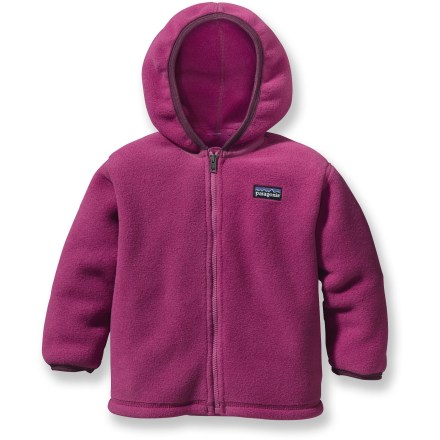The Patagonia Synchilla cardigan sweater for infant and toddlers is made with plush polyester fleece, offering wee ones unbeatable warmth and comfort. - $28.83