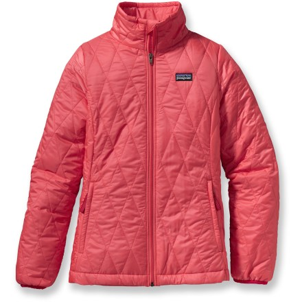 Snowboard A warm puffy jacket for her outdoor adventures, the girls' Nano Puff insulated with PrimaLoft(R) Gold resists wind and light moisture and stuffs into its own pocket for her to pack it easily. - $68.93