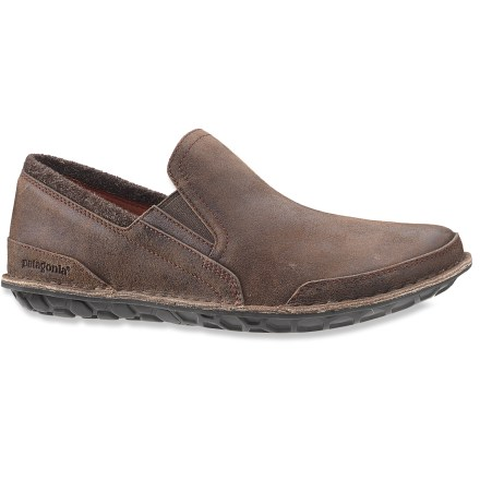Ready to travel, the Patagonia Banyan Moc slip-on shoes are all about day-long comfort and laid-back style for adventures overseas or just around town. Supple, extra-soft full-grain leather uppers are sourced from tanneries that strive to minimize harmful effects on the environment caused by their activities. Wool tweed collars add style and comfort around ankles; stretch gores offer slip-on ease and comfort. Polyester mesh linings ensure great breathability and help wick moisture away from feet, resulting in great in-shoe comfort. EVA midsoles are made from 20% recycled EVA and supply cushioning and protection for comfortable wear. Outsoles are made from 70% all-natural latex, harvested from hevea trees and molded into a distinctive honeycomb pattern for ample traction. Opanka-stitched outsoles on the Patagonia Banyan Moc shoes minimize the need for solvents and adhesives. - $97.93
