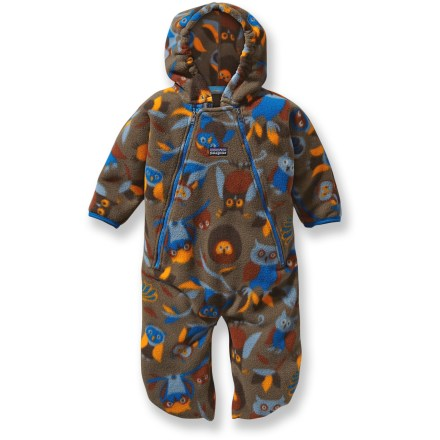 The cozy Patagonia Synchilla bunting will help keep your precious wee tyke warm from head to toe. It's made of 85% recycled Synchilla polyester fleece. - $43.83