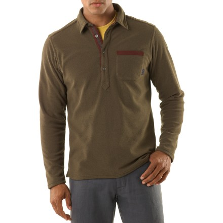 Don't let a cool afternoon keep you from getting outdoors. Pull on the comfortable, long-sleeved Patagonia Murrelet Fleece polo shirt before setting out on your daily adventures. Easy-care polyester has a soft pique-knit face with a fleecy lining for great comfort. Supplex(R) nylon reinforces the collar, collar stand, placket, patch pocket edge and inner side seam splits to ensure long-lasting wear. Includes metal buttons on the placket. Stow a few small items in the chest pocket. Straight hem with side splits looks great left untucked. Patagonia Murrelet Fleece polo shirt has a slim fit. - $61.93