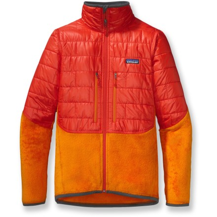 The Patagonia Nano Puff Hybrid jacket combines the top-selling Nano Puff jacket with iconic R2 fleece, creating a hybrid version that keeps you warm but not overheated during high-output adventures. A combination of favorites: compact, weather-shedding Nano Puff insulation up top and high-loft R2 fleece everywhere else. PrimaLoft(R) One synthetic insulation (60g) with a recycled polyester shell in the upper torso and upper arms concentrates warmth in crucial areas. Unique quilt pattern holds insulation in place, providing excellent warmth and compressibility. Polartec(R) R2 fleece has exceptional warmth-to-weight ratio, and is compressible and breathable with stretch in critical areas. Patagonia Nano Puff Hybrid jacket is treated with a Durable Water Repellent finish for water resistance and quick drying. Full-length, reverse-coil front zipper is backed with a low-bulk windflap and treated with a Durable Water Repellent finish. Microfleece-lined neck and chin for comfort. Durable binding finishes hem and cuffs. 2 Napoleon chest pockets are harness- and pack-compatible. Close-fitting cut aids warmth without inhibiting movement. - $123.83