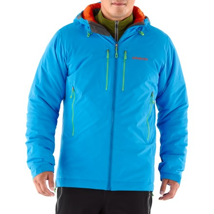 Ski The Patagonia Apastron Hoodie jacket offers the ultimate in windproof warmth. Frigid big-wall bivies, epic ice belays and subzero ski tours call for the warmest shell you can get your frozen hands on! Apastron combines lightweight, windproof, highly breathable Gore WindStopper(R) fabric with highly weather resistant, beefy 200g PrimaLoft(R) Eco insulation. Flat, snow-shedding front eliminates cold spots, while internal quilting holds the insulation in place. In addition to serious warmth, the Patagonia Apastron has a helmet-compatible hood with a laminated visor; 3-way adjustability provides optimal visibility in bad conditions. Embedded cordlocks in the hood and hem offer quick adjustments to seal out rain and snow. Low-profile cuff closures with pleated gussets seal in warmth. Harness- and pack-compatible zippered pockets: 2 handwarmers, 2 chest and 1 internal security. - $243.93