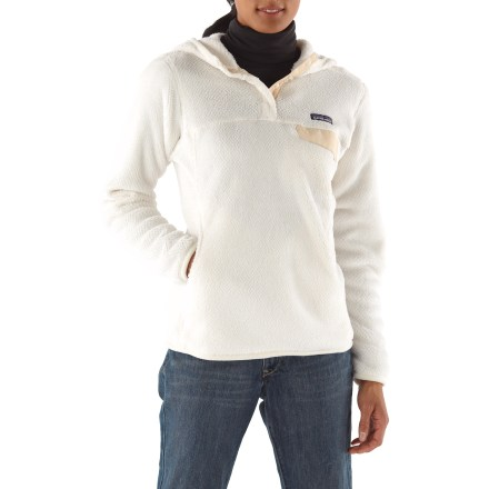 Camp and Hike The Patagonia Re-Tool Hoodie is made of Polartec(R) Thermal Pro(R) fleece with a kangaroo handwarmer pocket and Supplex(R) nylon reinforcements on the placket and chest pocket flap. Made of lightweight, compressible deep-pile Polartec Thermal Pro fleece with extra-long fibers for superior warmth. Brushed microfleece trim around hood opening, cuffs and hem. Front placket hides the 4-snap closure; reinforced with durable Supplex nylon. Yoke and princess seams add contouring and shaping. Supplex nylon chest pocket flap; kangaroo-style handwarmer pocket. Patagonia Re-Tool Hoodie has a slim fit. - $96.93