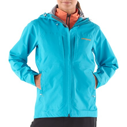 Ski For those who love the gray areas between mountaineering and skiing, there's the Patagonia Exosphere jacket. It offers durable waterproof, breathable protection for extended use in big alpine arenas. 3-layer H2No(R) Performance waterproof, breathable nylon ripstop repels moisture and stands up to heavy use; perfect for alpine climbs or skin mountaineering. Helmet-compatible, 2-way adjustable hood. Trim, minimal stormflap protects the center-front zip; chin guard protects delicate skin. Watertight pit zips provide on-demand ventilation. Drawcord hem and self-fabric rip-and-stick cuff closures seal in warmth. Includes women-specific sculpting and pocketing, with 2 Napoleon-style chest pockets, 2 handwarmer pockets and an internal storage pocket (all zippered). Patagonia Exosphere jacket has a regular fit. - $174.83