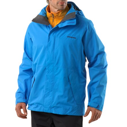 Ski The Patagonia Showshot jacket lets you stay in constant motion in the backcountry and within bounds with its waterproof, breathable protection. Rugged, 2-layer polyester with a waterproof, breathable coating provides all-weather protection. Polyester mesh lining moves moisture away from your body and glides easily over base layers. Removable, 2-way adjustable hood (helmet-compatible) with laminated visor promotes peripheral vision; low profile snap closure; high collar seals cold air away from body. Patagonia Snowshot jacket features generous pit zips to dump excess heat quickly; articulated arms allow full range of motion. Low-profile, snow-seal powder skirt helps seal out snow with snap-secure webbing loops to connect to compatible ski and snowboard pants. Pockets include 2 zippered handwarmer pockets, 1 chest pocket (holds electonic device and cable routing) and 2 interior pockets for goggles and gloves and 1 stash pocket. Drawcord hem with cordlocks seals out drafts and adjusts via the front pockets; rip-and-stick cuffs adjust comfortably around wrists. Jacket is treated with a Durable Water Repellent finish for water resistance and quick drying. - $139.83
