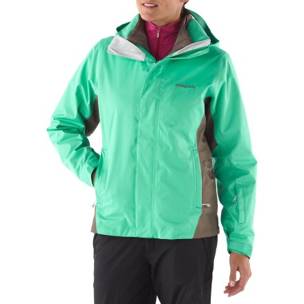 Ski The Patagonia 3-in-1 Snowbelle insulated jacket can be worn as a shell or just the liner for light insulation, or as a waterproof insulated combo that will keep you toasty high up on the mountain. Soft, durable 2-layer polyester with H2No(R) waterproof, breathable laminate provides all-weather protection. Jacket is treated with a Deluge Durable Water Repellent finish for water resistance and quick drying. Polyester mesh lining helps to moves moisture away from your body for a dry fit. Removable, 2-way adjustable hood is helmet-compatible and promotes natural neck mobility and peripheral vision. Adjustable powder skirt helps seal out snow and offers webbing loops to connect to any Patagonia snow pants (sold separately). Pockets abound in the Patagonia 3-in-1 Snowbelle insulated jacket, including zippered handwarmers, 1 chest, 2 interior (1 zippered, 1 drop-in) and 1 media pocket. Hem cinches to keep chill out; underarm zips offer quick release of heat when needed. Pleated gusset at cuffs fits over or under your gloves to prevent snow from sneaking in. Removable liner jacket features Thermogreen insulation that stays warm even when wet; zip it into the shell jacket for serious warmth or wear it solo as weather permits. Thermogreen synthetic insulation in liner jacket is made from 90% recycled materials. Liner jacket is also treated with a Deluge Durable Water Repellent finish for water resistance and quick drying. - $278.93