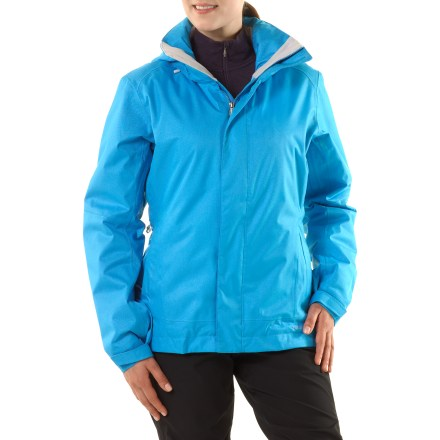 Ski Built to endure, the Patagonia Snowbelle insulated women's jacket protects you from backcountry weather with a waterproof, insulated shell. Rugged, 2-layer polyester shell with waterproof, breathable coating provides all-weather protection. Lightweight synthetic insulation provides warmth even when damp, compresses easily and features 90% recycled fibers (100g in body, 60g in hood and sleeves). Soft polyester lining moves moisture away from your body and glides easily over base layers; lining features a quilted pattern to keep insulation from shifting. Removable, 2-way adjustable hood (helmet-compatible) with laminated visor promotes peripheral vision; low profile snap closure; high collar seals cold air away from body. Patagonia Snowbelle insulated women's jacket features generous pit zips to dump excess heat quickly; articulated arms allow full range of motion. Low-profile, snow-seal powder skirt helps seal out snow using snap-secure webbing loops that connect to compatible ski and snowboard pants. Pockets include 2 zippered handwarmer pockets; 1 chest media player pocket (with interior cable routing). 2 internal mesh drop-in pockets are large enough to hold goggles or skins; zip stash pocket holds essentials. Drawcord hem with cordlocks seals out drafts and adjusts via the front pockets; low-profile rip-and-stick cuffs. Jacket is treated with a Deluge Durable Water Repellent finish for water resistance and quick drying. - $149.83
