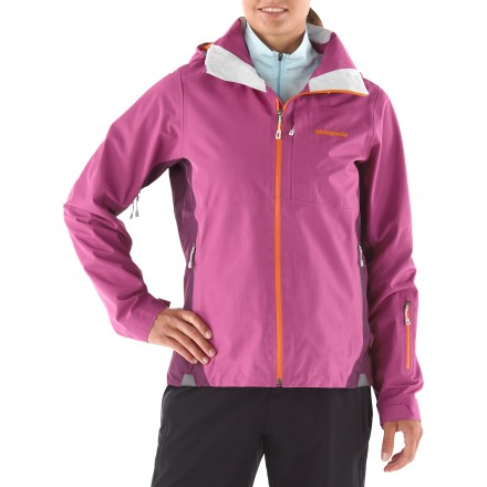 Ski The Patagonia Powder Bowl shell jacket for women offers a sleek design and full spread of features that give you permission to seek out that perfect powder ride. 2-layer construction pairs a comfortable, moisture-wicking mesh lining with a sturdy Gore-Tex(R) performance shell to ensure you stay dry in heavy storms. Durable Water Repellent finish helps fend off rain showers and snow. Removable, 2-way adjustable hood is big enough to fit a helmet and tall enough to protect your neck and face, even when hood is down. Laminated visor in hood aids visibility in poor conditions. Keeping snow out, the adjustable powder skirt features webbing loops that connect to any Patagonia snow pants (sold separately). Zippered pockets-including handwarmers, chest, forearm and interior-offer ample storage for small goodies; separate secure media pocket with cable routing. Coated zippers are watertight and optimized for reduced bulk and weight. Pleated gusset at wrists creates a secure fit over or under your gloves. Underarm zips in the Patagonia Powder Bowl shell jacket allow venting so you won't overheat. - $199.83