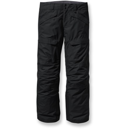 Ski The Patagonia Snowshot long-length snow pants allow you to maximize your vertical and charge hard through the backcountry in waterproof, breathable protection. Rugged, 2-layer polyester with a waterproof, breathable laminate provides all-mountain and all-weather protection. Brushed polyester mesh lining provides warmth, increases wicking and eases layering in seat and thighs; smooth polyester mesh lining in lower legs for easy glide. Brushed tricot-lined waistband provides against-the-skin comfort; zip-fly, 2-button closure and internal rip-and-stick adjustable waistband offer a custom fit. Mesh-lined inner thigh zippered vents release excess body heat and prevent snow entry. Snow gaiters securely wrap around boots with gripper elastic; cam buckles and integrated drawcord keep snow from entering pants. Stash your gear in the twin zip handwarmer pockets and twin zippered thigh cargo pockets. Patagonia Snowshot shell pants feature articulated knees to improve movement for deep knee drops and radical aerials. Pants are treated with a Durable Water Repellent finish for water resistance and quick drying. - $124.93