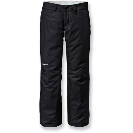 Ski The lightweight, insulated Patagonia Snowbelle short-length women's snow pants let you spend all day skiing or riding in waterproof, breathable comfort. Rugged, 2-layer polyester shell with waterproof, breathable laminate provides all-weather protection. 60g synthetic insulation provides warmth even when damp, compresses easily and features 90% recycled fibers. Polyester lining moves moisture away from your body and glides easily over base layers. Brushed tricot-lined waistband wicks moisture and provides against-the-skin comfort; zip-fly, 2-snap closure, and adjustable waistband tabs offer a personalized fit. Mesh-lined inner thigh vents release excess body heat and prevent snow entry. Snow gaiters securely wrap around boots with gripper elastic to keep snow from entering pants. Patagonia Snowbelle pants feature scuff guards to protect cuffs from abrasion and sharp edges. Stash your gear in 2 zippered handwarmer pockets. Articulated knees allow unrestricted movement for deep knee drops and radical aerials. All exterior zippers are treated with a Durable Water Repellent finish for water resistance and quick drying. - $199.00